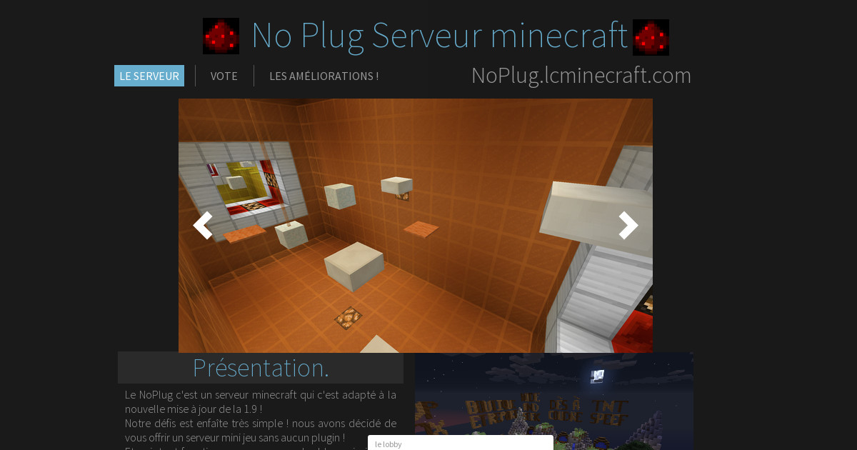 noplug serveur minecraft 1 9 le serveur. Black Bedroom Furniture Sets. Home Design Ideas